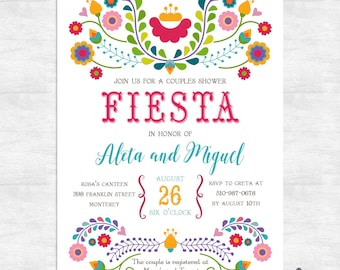 Fiesta invitation / Fiesta couples shower invitations / cinco de mayo wedding  / printable invitations / printed invitations