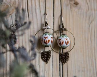Boucles d'oreilles renards fond blanc
