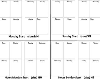 A6 - Weekly Boxes Calendar - Week on Two Pages - Digital , Traveler's Notebook / Fauxdori Insert