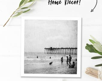 Black and white wall art photography download, vintage bathroom art black and white beach photography, square printable art instant download