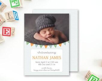Boy Birth Announcement Template - Boys birth announcements - photo card template