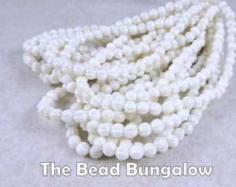 Czech Beads, 4mm Melon, Czech Glass Beads - Pearly White Melon (D4M/N-1362) - Qty. 50