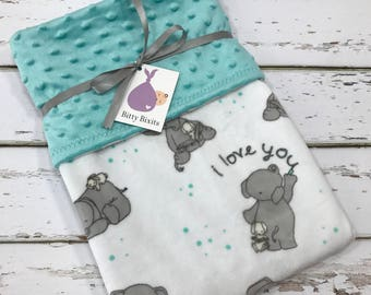 Elephant Baby Blanket Neutral baby blanket grey Baby Blanket gender neutral shower gift elephant blanket Minky blanket double Minky blanket