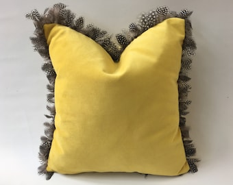 handmade luxurious vlevet cushion trimmed with real feathers