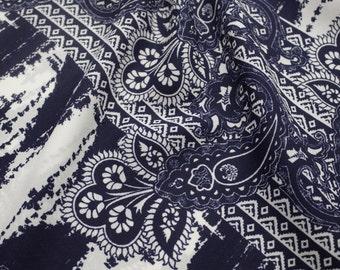 Navy Bohemian Prints on 58'' Wool Dobby Fabric By the Yard 3213