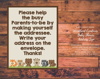Printable Woodland Creatures Baby Shower Address an Envelope Sign