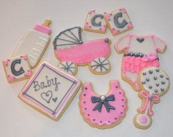 BABY THEME assorted decorated cookies. Bottle, rattle, onesie, carriage, stroller, baby, girl. Pink, gray. Your choice of color & details.