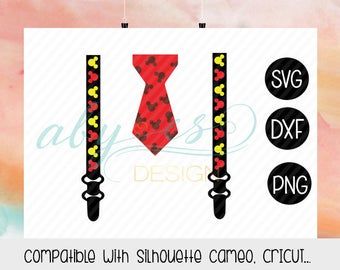 Mickey Suspenders SVG, Suspenders and tie SVG,  Birthday,  Mickey suspenders, Dxf, Png, Iron On Transfer Paper, Sublimation