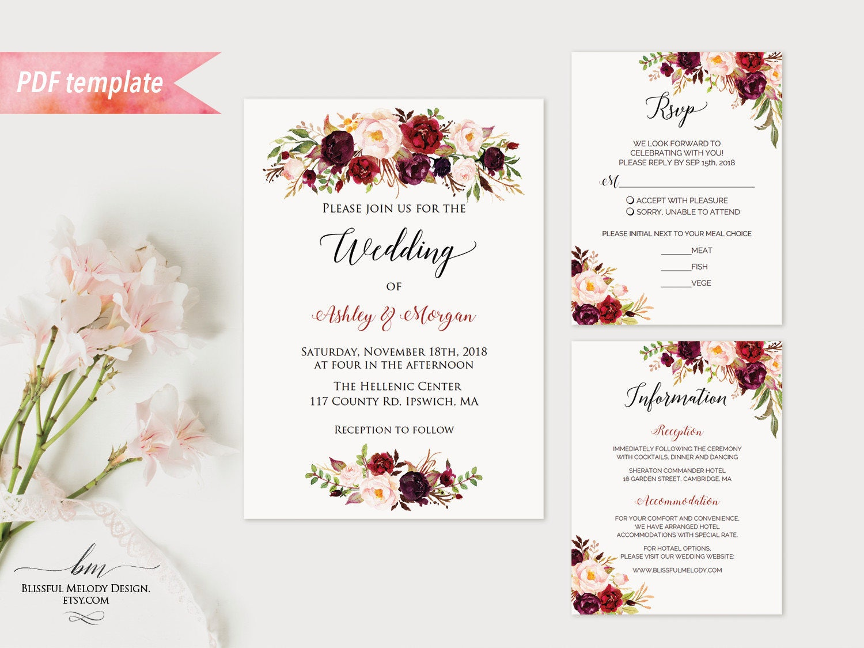 Printable burgundy floral wedding invitation set editable pdf zoom monicamarmolfo Gallery