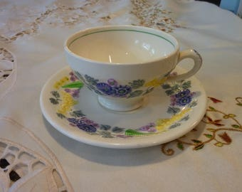 Vintage Tea Cup and Saucer - George Jones & Sons - Made in England -  Devon Line ~ Embossed Floral Design on a Cream Back Round