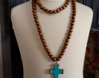 Long wood and Turquoise cross necklace