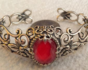 Sterling Red Coral Doublet Cuff Bracelet by Carolyn Pollack