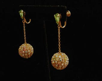 Vintage Screw Back Dangling Aurora Borealis Ball Earrings
