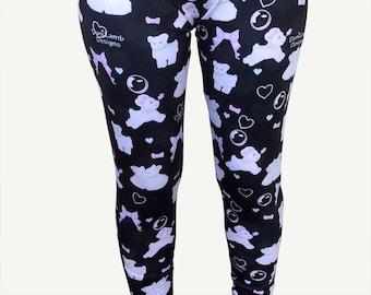 Kawaii Fairy Kei Leggings Lamb Leggings Pastel Lamb Danilamb Sheep Bows Bubbles Hearts Cute Lamb Print Size XS Through 5XL *PREORDER*