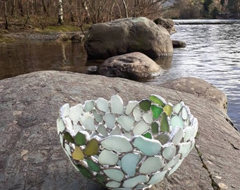 Sea Glass Bowl Small , Seafoam Blue and Green Beach Glass Bowl, Sea Glass Art , Stained Glass