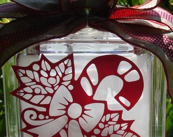 Candy cane glass block