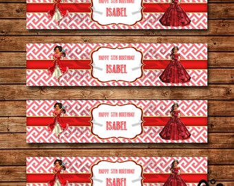 Elena Birthday Water Bottle Label, Elena Birthday, Disney Princess Water Bottle Label, Elena of Avalor Water Bottle Label