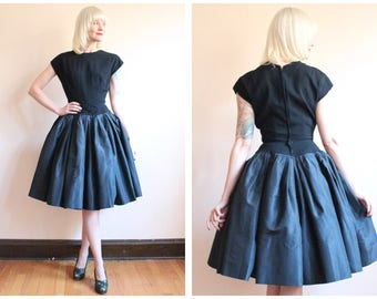 1950s Dress // NEW LOOK William Pearson Silk & Wool Party Dress // vintage 50s dress