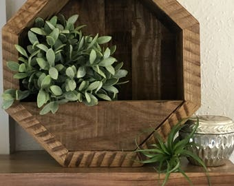 Octagon Planter, Reclaimed Wood planter, Outdoor/Indoor Planter, Succulent planter, Geometric Planter, 13.5 x 13.5