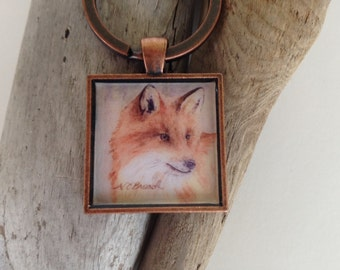 Red Fox Key Ring, Handmade with Watercolor Art Print