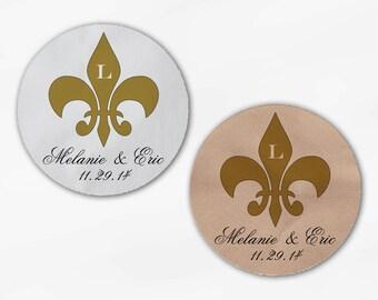 Fleur de Lis Wedding Favor Stickers in Gold - Custom Candy Buffet White Or Kraft Round Labels for Bag Seals, Envelopes, Mason Jars (2020)