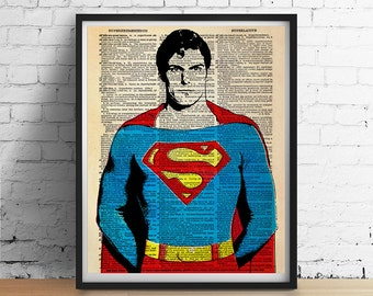 SUPERMAN Art Print, Super Man Hero Poster, Retro Vintage Dictionary Art, Wall Art Home Decor, Appreciation Gift Dad Boyfriend Fathers Day