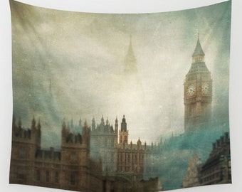 London Surreal wall tapestry, large size wall art, decor tapestry, surreal tapestry, london, wanderlust, big ben, architecture