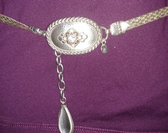 Silver Tone Belt/XL Silver Belt/ Silver Dress  Belt/Vintage Silver Tone Belt/Belt with Silver Buckle/Gift For Her/Item Nr. 199