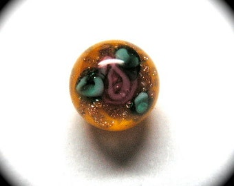 Vintage Button ~ Diminutive Glass Paperweight Yellow Set up w Goldstone & Florals 6mm