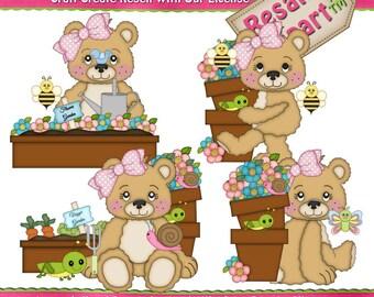 LiL Bears Garden Girl Clipart (Digital Download)