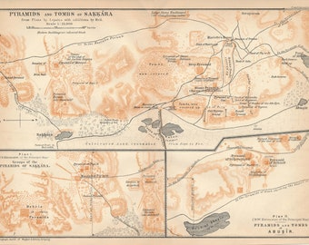 1908 Pyramids and Tombs of Saqqara, Egypt Antique Map