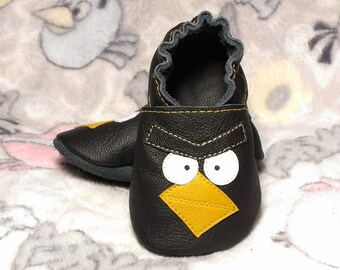 Angry bird soft sole leather shoes, leather baby shoes, baby pre-walkers, soft soled baby shoes, baby slippers, toddlers moccasins