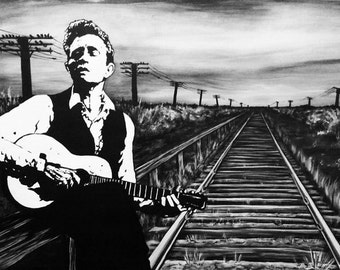 "Johnny Cash Canvas Print of Original Painting 20""x30"""
