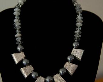 Heavy Hilltribe Silver Necklace - Swarovski Pearls