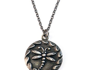 DRAGONFLY Modern Vintage Antique Button Necklace By Compass Rose Design - STERLING SILVER
