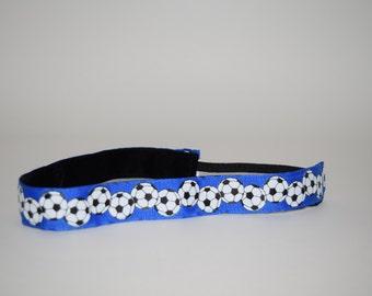 Blue Soccer Headband- Soccer Headband- Sport Headband= 7/8 inch headband- no slip headband- soccer- Blue Soccer