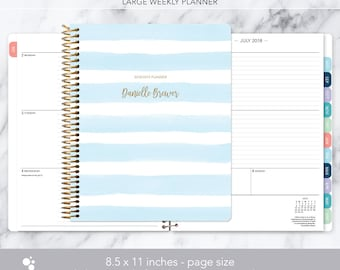 8.5x11 weekly planner 2018 2019   choose your start month   12 month calendar   LARGE WEEKLY PLANNER   blue watercolor stripes