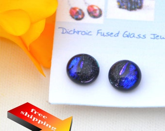 44 Fused dichroic glass earrings,  blue and purple