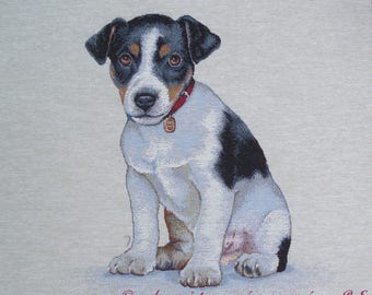 JACK Russell tapestry panel fabric coupon