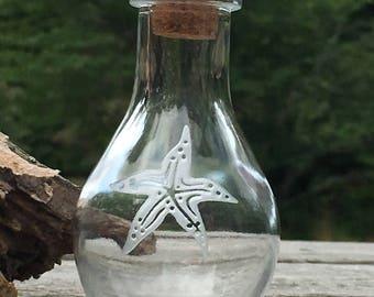 Starfish etched keepsake bottle