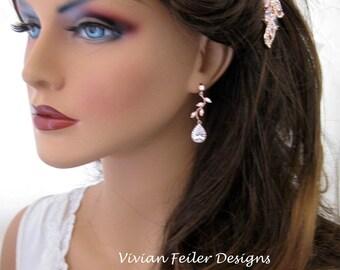 Rose Gold Wedding Earrings VINE Bridal Earrings Cubic Zirconia Bridal Jewelry Bridesmaid Gift Bridal Prom
