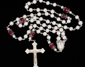 Pearl Ruby Catholic Women's Rosary - Handmade Gift, Freshwater Pearls and Rubies, Bali Sterling Silver, Miraculous Medal, Ornate Crucifix