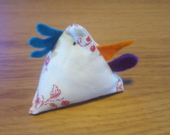 Handmade fabric chicken - Cowboys and Indians - Juggling bean bag!