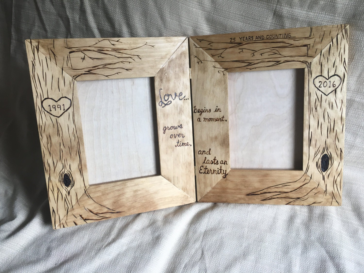 Double then now wood frame love grows tree picture frame zoom jeuxipadfo Image collections
