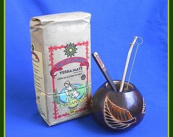 Leaves Mate Gourd, Organic Yerba, Bombilla, Spoon + Cleaner