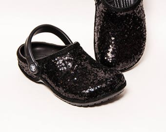 Tiny Sequin - Starlight Black Clayman Slip On Crocs Classic Clogs Casual Shoes