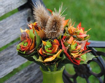 12 FALL Maple Leaf Roses, With Teasel. REAL LEAVES! Fall Home Decor, Thanksgiving, Halloween