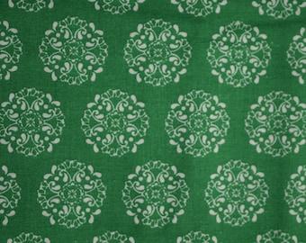 Green Medallions Fabric-100% Cotton
