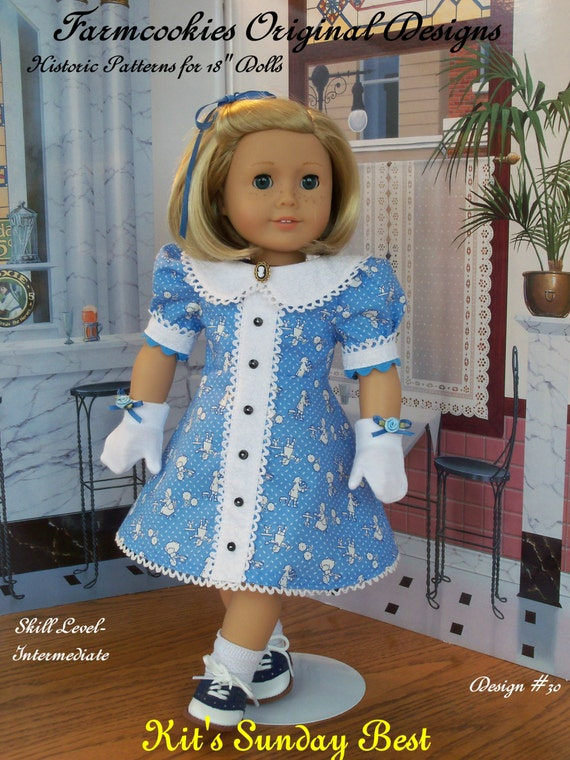 """PRINTED SEWING PATTERN  For American Girl Doll Clothes / Kit's Sunday Best / Clothes Fit American Girl®  or Other 18"""" Doll"""