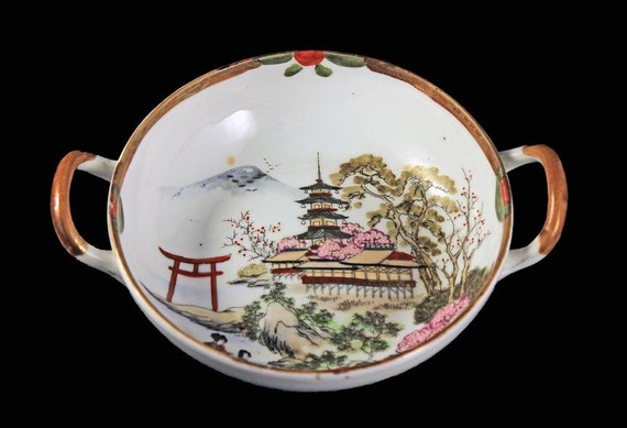 Antique Porcelain Nippon Bowl, T N Nippon Mark, Hand Painted, Temple Pattern, 2 Handles, Brown Trim